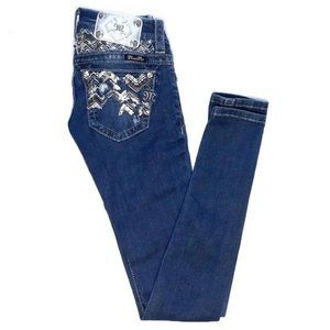 Miss Me Sequin Dark Blue Low Rise Skinny Jeans